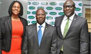 Mr. Olufemi Williams, group managing director of Chams Plc flanked by Mrs. Jameelah Ayedun, managing director, Credit Registry Services (L) and Mr. Luqman Balogun, deputy managing director of Chams Plc  at the formal unveiling of ConfirmMe in Lagos.