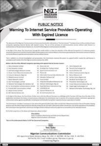 NCC warning letter to internet providers