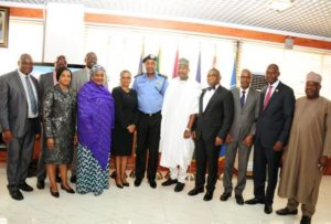 The Executive Vice Chairman of the Commission (EVC), Prof. Umar Garba Danbatta, together with senior management staff during a courtesy visit to the Inspector General of Police (IGP), Solomon Arase, at the Police Force Headquarters, Abuja on March 1, 2016.