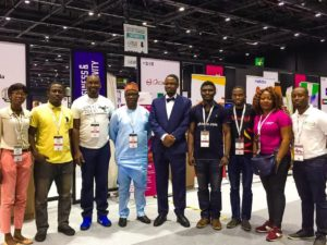 (5th and 6th from R) Director-General of the National Information Technology Development Agency (NITDA), Dr Isa Ali Ibrahim Pantami and the Director of Corporate Strategies and Research at NITDA, Dr Vincent Olatunji with some Nigerian Startups at GITEX 2016, Dubai