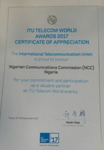 ITU honours NCC with a recognition award