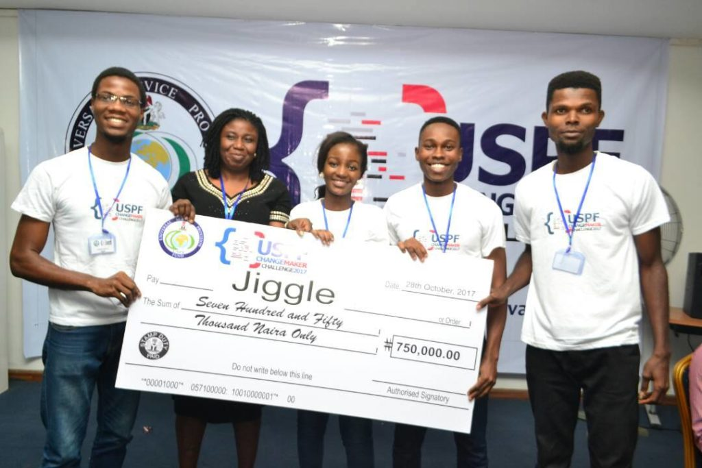 Team JIGGLE came second andwent home wit h N750,000