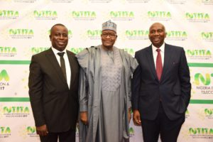 Olusola Teniola of ATCON; Prof. Umar Garba Danbatta, EVC of NCC and fmr EVC of NCC Ernest Ndukwe at the NTITA 2017