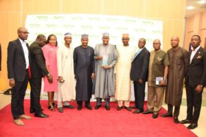 Prof. Umar Danbatta with the NCC team at the NTITA, Lagos