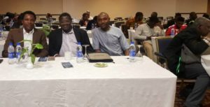 Zalanga with Mr. Clemson Ayebuisi of the American Consulate in Lagos, and Dr Abraham Sesan of the University of Jos at WACC 2017