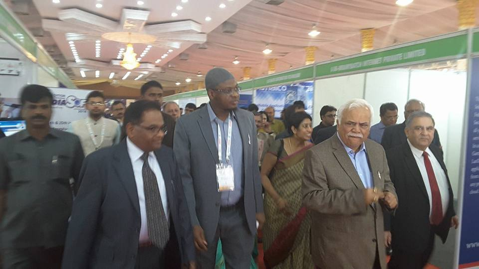 DG of NITDA, Dr Pantami with the Indian Minister of Large and Medium Industries and Infrastructure Development, R.V Deshpande on a tour of the exhibition floor at INDIASOFT2018