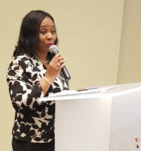 Representing the Minsiter, Director of ICT, Ministry of Communications, Mrs. Moni Udoh