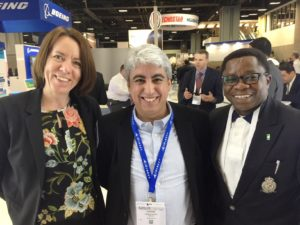 Senior Director, Product Marketing, Nikole Kromer and Director, System Engineering at VT iDirect, Hassan Aouisse with Executive Director, Marketing at NIGCOMSAT, Samson Osagie at SATELLITE DC
