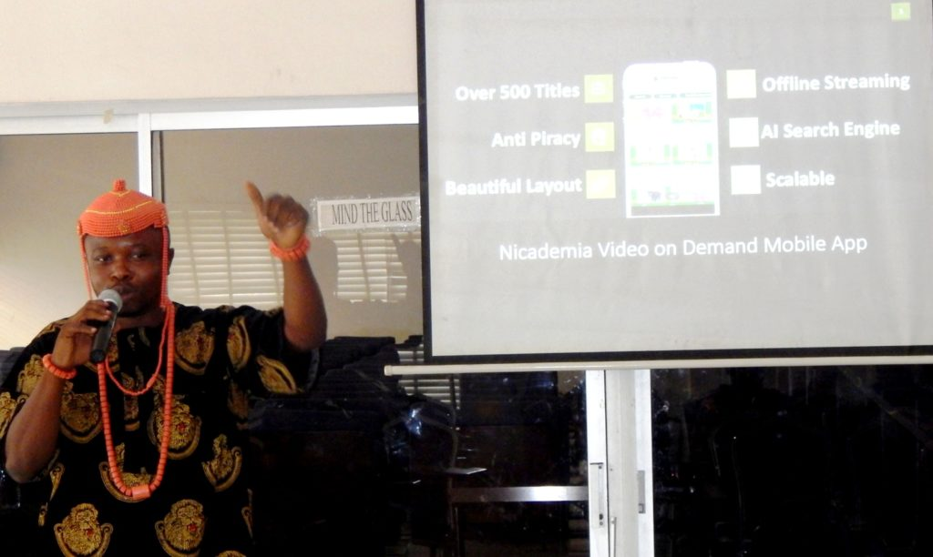 Founder and CEO of Nicademia, Valentine Ubalua at the launch of the mobile app and on demand platform in Lagos