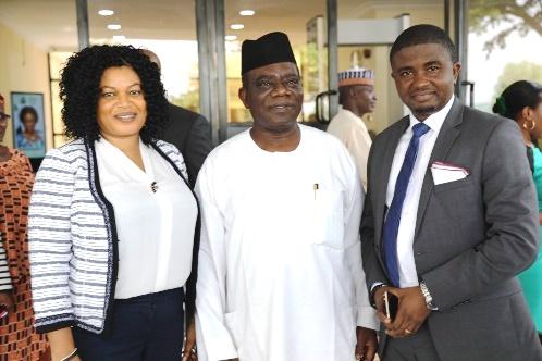 Managing Director of NIGCOMSAT, Abimbola Alele, Administrator of PISIN, Dr Abdul-Ganiyu Obatoyinbo; Managing Director of Sawtel Technologies, Mike Amanyi.