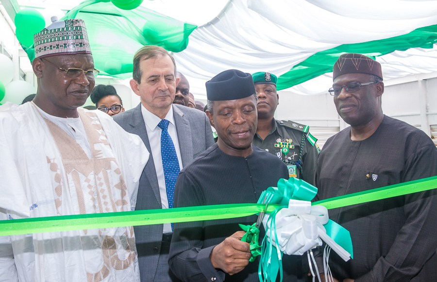 With Osinbajo, Pan Atlantic University, Prof Juan Elegido; and Min. of Environment, Mallam Usman Jibril (L), during the launch of the Nigeria Climate Innovation Centre. Image: Optimum Times
