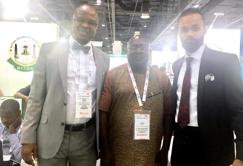 Plateau State Commissioner of Science and Technology, Hon. Dan Manjang, DG of NITDA, Dr Isa and a trade visitor at GITEX 2018, Dubai, UAE