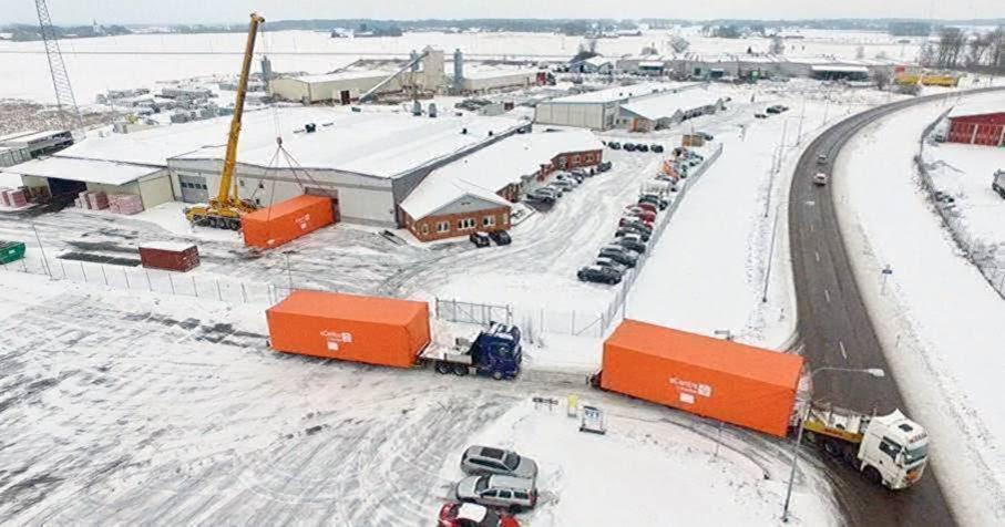 South America-bound eCentre modules leaving Flexenclosure's factory in Sweden