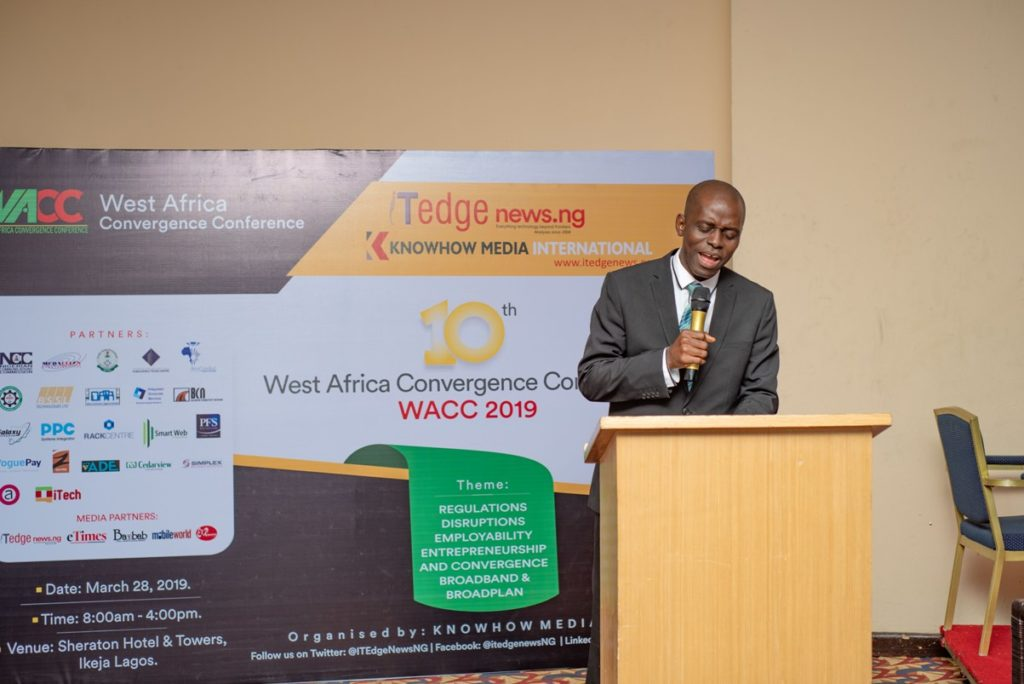 Prof Danbatta at WACC 2019 represented by Head, Wireless Networks at NCC, Engr. Anthony Ikemefuna